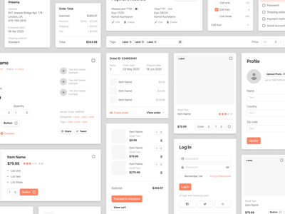 Sections Ecommerce Wireframe Kit filter cart shop ecommerce website web design web prototyping wireframe figma ux ui sketch uikit