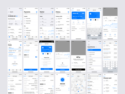 iOS 14 Wireframe Kit bitcoin bank finance crypto banking fintech figma app ux mobile ios14 ios design prototyping wireframe sketch ui uikit