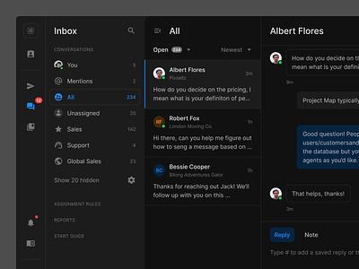 Chat UI (Dark) dark theme dark mode dark support dashboard messenger chat webdesign website web figma ui uikit