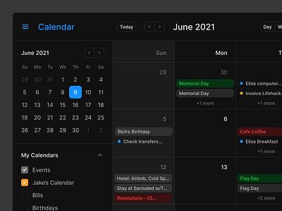 Calendar UI (Dark) website web desigsystem uikit figma tasks task task manager todo list todo dashboard