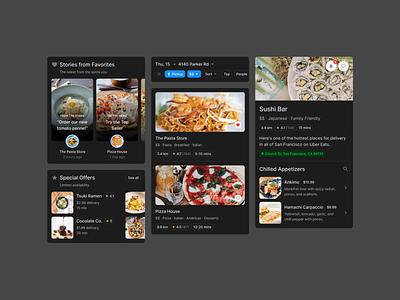 Food Delivery App (Dark) dark theme dark mode dark pasta pizza delivery design ios app mobile ui figma restaurant food uikit