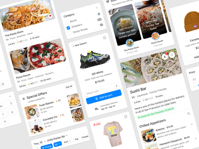 Figma Design System food delivery restaurant product item web designsystem card sale shop ecommerce figma ui uikit
