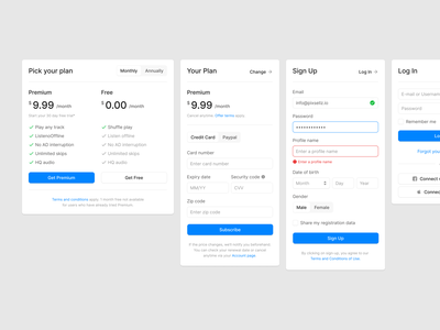 Forms subscribe plan log in login page login signup form designsystem web figma ui uikit