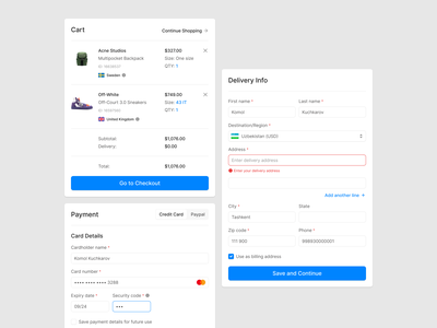 Ecommerce Checkout Forms cart design web checkout figma wireframe prototyping ux forms ecommerce ui uikit