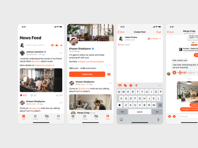 Social App mobile ios app prototyping wireframe ux sketch figma ui uikit post feed messages chat social