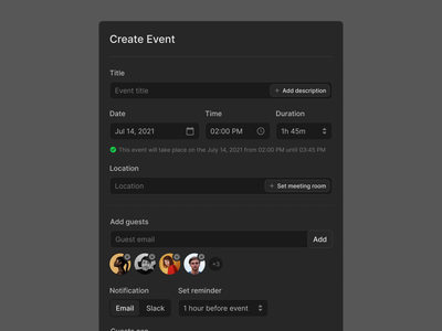 Create Event Form (Dark & Light) forms input form figma prototyping wireframe ux ui uikit meeting meet schedule event