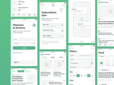 Scheme iOS Wireframe Kit wireframe ios mobile mobile app ux uikit flow uxflow prototype sketch