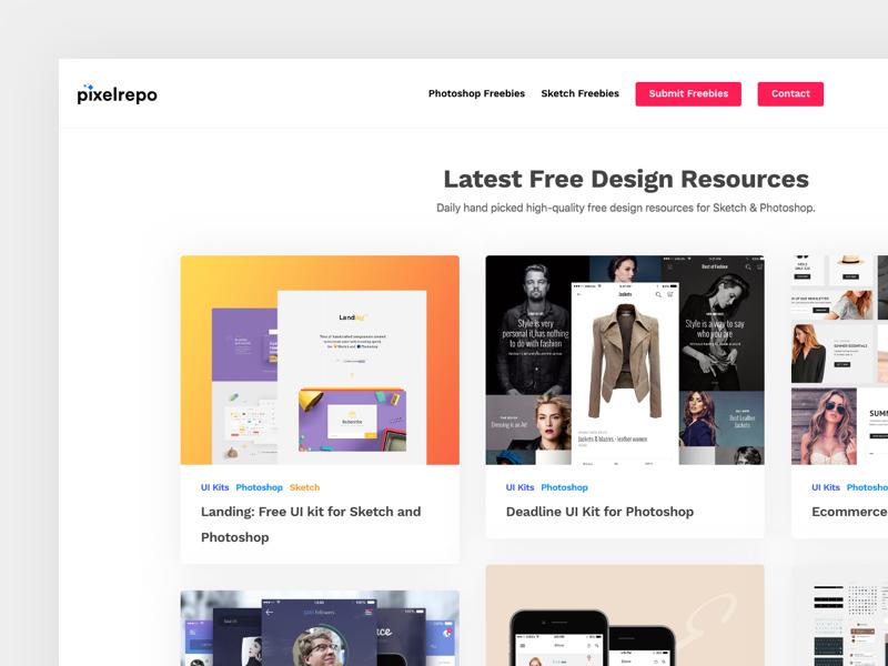 PixelRepo — Free Web & UI Design Resources by Bella Mark on