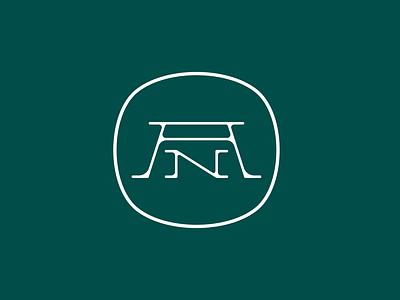 Personal Logo line squircle stamp badge art hand drawn white green initials monogram personal logo