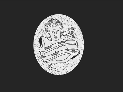 Roman Bust hair marble badge black white illustration procreate texture snake stippling dots statue bust roman