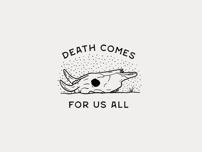 Death Comes for Us All cracked warmup halloween death desert texture badge procreate illustration dots stippling skull cow
