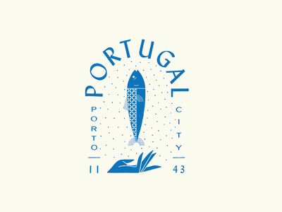 Porto blue travel texture pattern geometric sardine fish hand city badge procreate illustration portugal porto