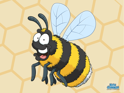 Cute Cartoon Bee bumblebee beecartoon childrensbooks childrensillustration bugs cartoons busy buzz bee hive honeybees pollen insects insect beeswax honeybee honey bees bee cartoon cartoon illustration