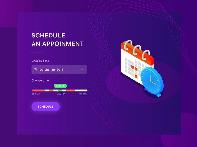 Appointment Scheduling UI time slider appointment scheduling illustration ux ui select time select date clock calendar gradient booking time range time picker date picker purple isometric web appointment schedule