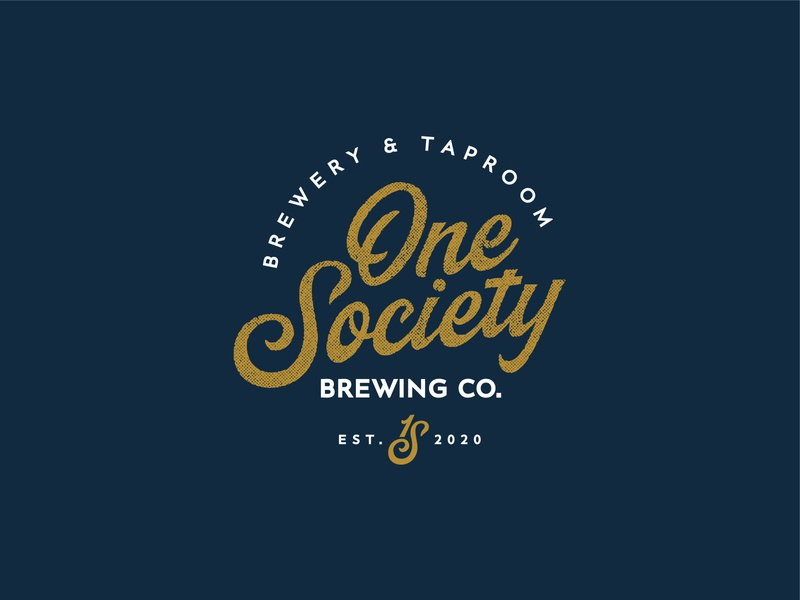 One Society Brewing Co. brewery vector logotype branding script beer calligraphy handlettering logo lettering