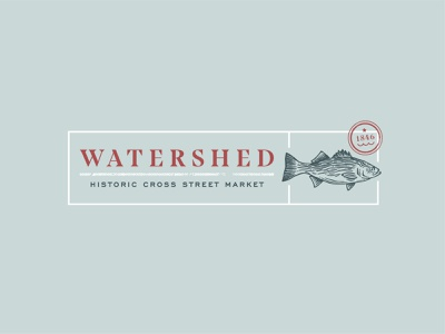 Watershed typogaphy market hand drawn vector stamp fish branding restaurant illustration logo