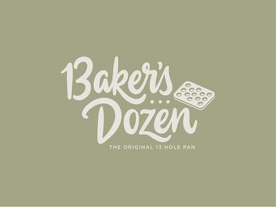 Baker's Dozen vector logotype pan 13 bake script calligraphy logo handlettering lettering