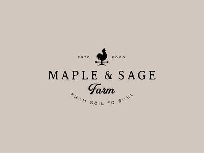 Maple & Sage Farm farmhouse rooster organic farm weathervane chicken vector logo