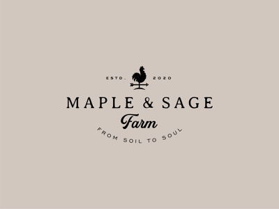 Maple & Sage Farm farmhouse rooster organic farm weathervane chicken vector logo