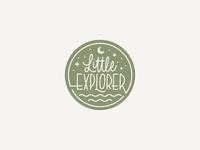 Little Explorer outdoors stars moon children nature badge branding script vector logo handlettering lettering calligraphy