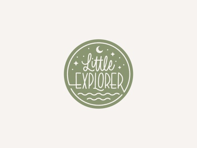 Little Explorer outdoors stars moon children nature badge branding script vector logo handlettering lettering calligraphy
