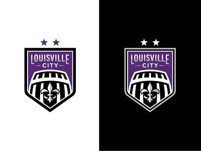 Louisville City FC fleur de lis barrel bourbon vector logo soccer badge badge soccer city louisville