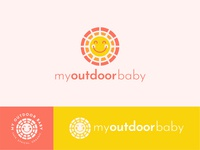 My Outdoor Baby smile rays bright cute modern sunscreen face sun yellow baby illustration vector logo