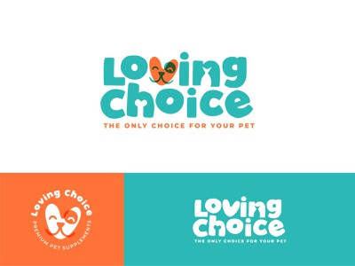 Loving Choice pets supplements love heart dog pet design branding vector logo