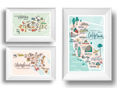 State Map Illustrations landmarks icons art lettering vector print map illustraion state california maryland kentucky
