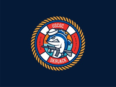 USCGC Skipjack logo shield unit circle badge illustraion vector character mascot tuna guns military coast guard uscgc
