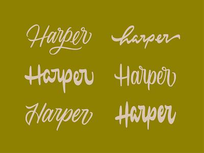 Harper Lettering styles vector retro harper name logo branding script handlettering lettering calligraphy