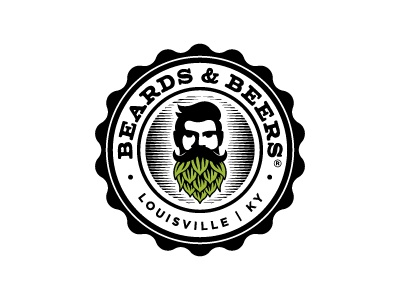 Beards & Beers badge logo beer cap barber craft hop beer beard
