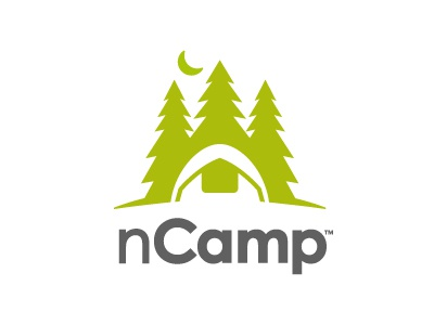 nCamp camping logo forest woods outdoors nature moon trees tent camp