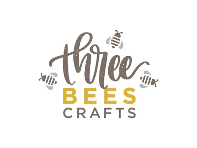 Three Bees logo handlettered lettering boutique rustic three crafts bees