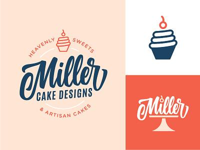 Miller Cake Designs icon feminine branding logo script calligraphy lettering handlettering bakery cupcake cake