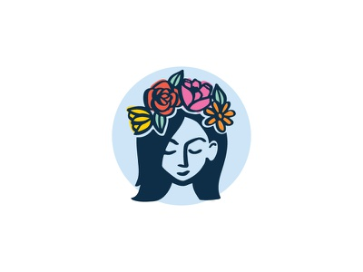 Flower Crown Illustration flower crown face florist feminine woman illustration flowers