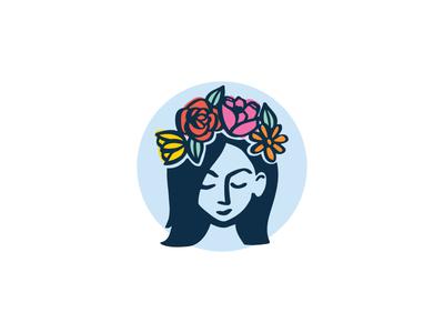 Flower Crown Illustration flower crown face florist feminine woman illustration flowers