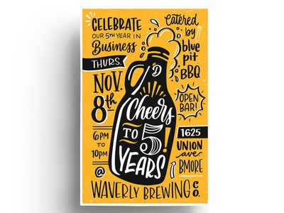 Cheers To 5 Years retro design anniversary handlettering party illustration growler beer invitation lettering
