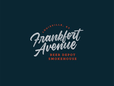 Frankfort Avenue Wordmark Logo vector design kentucky louisville beer barbecue restaurant wordmark script calligraphy lettering logo