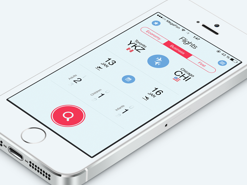 Flight Search App flat ios7 ui interface fly ux iphone mobile travel app air application