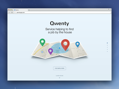 Qwenty redesign geolocation site job find help house pin map geo location landing