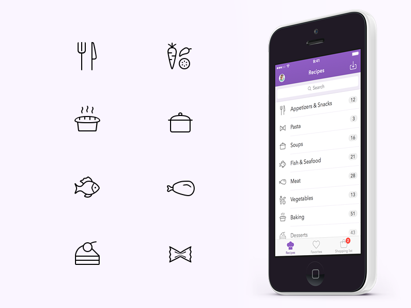 Recipe Category Icons app icon clean simple categories food minimal recipe