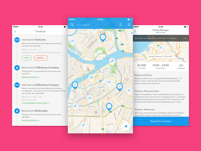 Qwenty app work student sketch list map search timeline vacancy pin ios iphone job