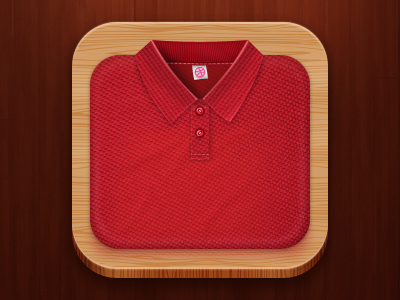 Polo shirt App Icon shirt polo icon icons app ios debut realism dribbble fabric label wood cotton texture