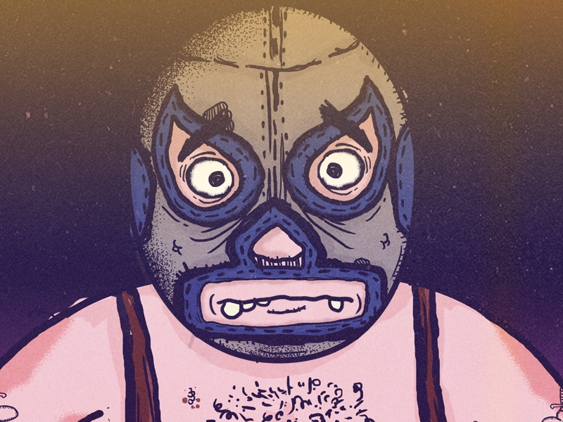 Masked Luchador mexico fighter masked grunge photoshop drawing