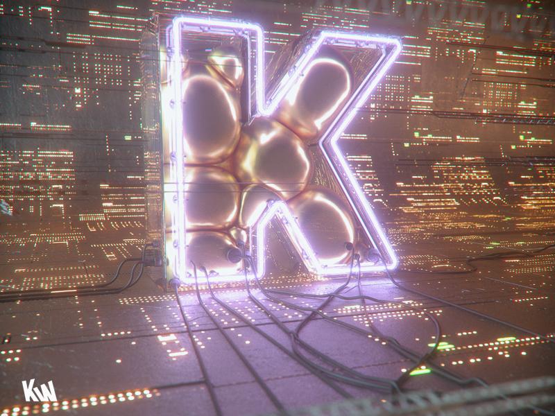 K gold futuristic greeble octane cinema 4d c4d dynamics softbody neon