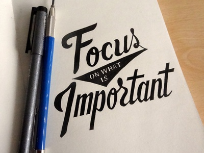 Focus on what is important lettering