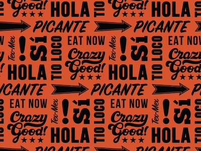 Tex-mex typographic pattern food mex tex restaurant branding pattern lettering typography type