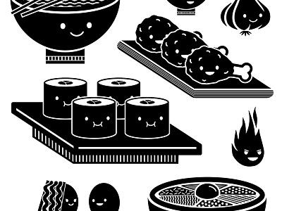 Korean food illustrations sushi icon kimbap graphic cute vector illustration branding food korean