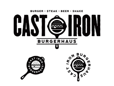 Cast Iron Burgerhaus bangkok skillet identity branding logo food steak burger iron cast